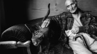 SWITZERLAND. Canton of Vaud. Rossinière. French painter BALTHUS at home with his cat Mitsuko.