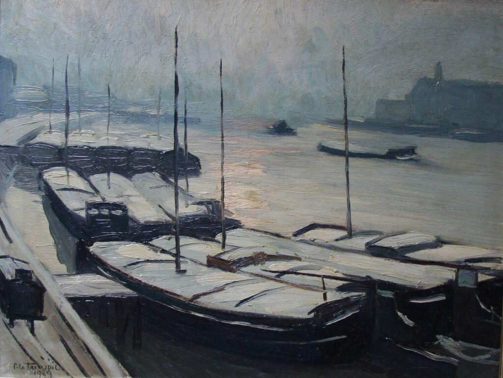 Péniches sous la neige à Rouen 1929