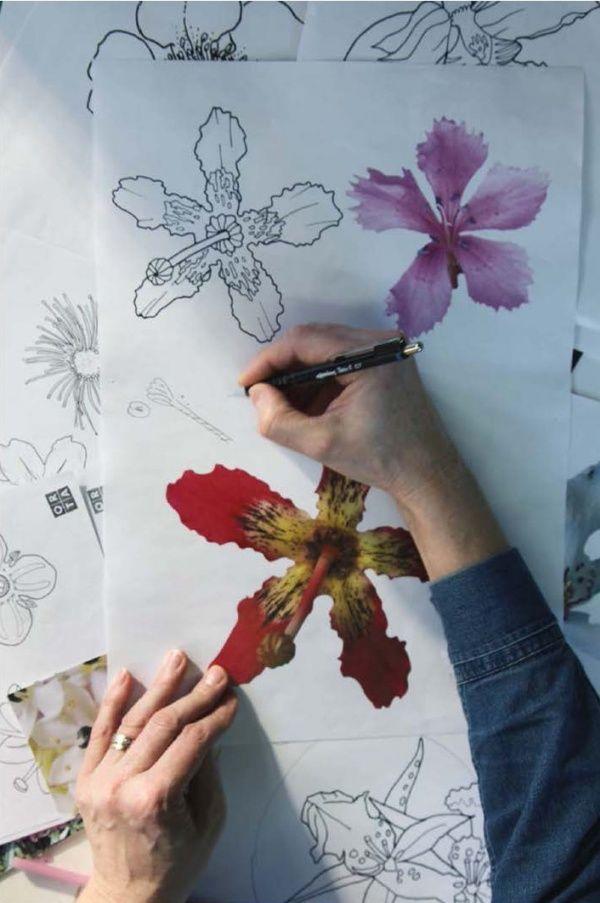 Lucy Orta. Vue de l'atelier Laboratoire dessin Amazonia.