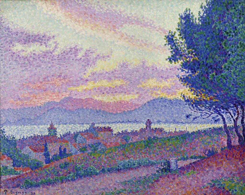 Paul SIGNAC, Vue de Saint-Tropez, coucher de soleil au bois de pins