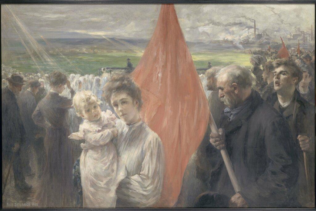 Paul-Louis DELANCE, Grève à Saint-Ouen, 1908, Huile sur toile.