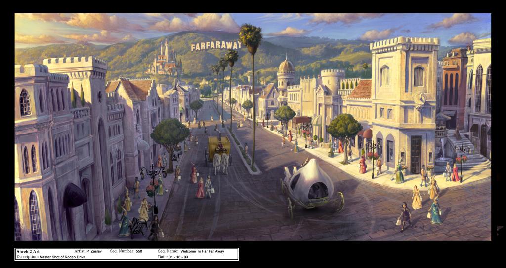 """Concept art du film """"Shrek 2"""" par P. Zaslav"""