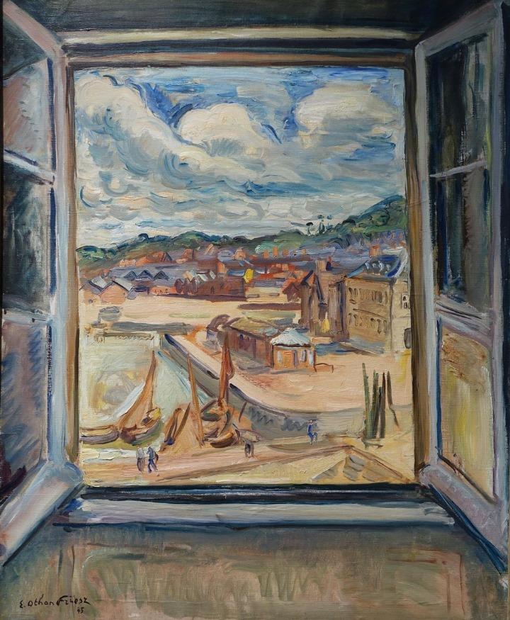 Othon Friesz - Fenêtre sur le port de Honfleur, huile sur toile, 1945