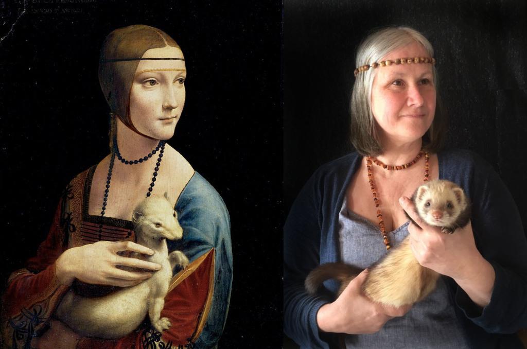 La Dame à l'hermine de De Vinci recréé pour le Getty Museum Challenge