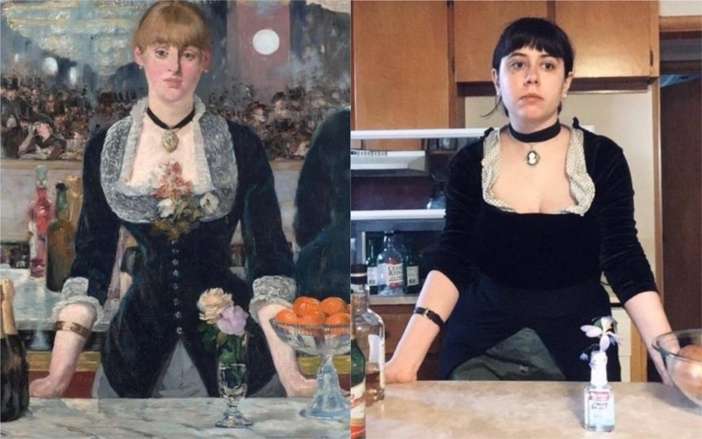 Tableau de Manet reproduit dans le cadre du Getty Museum Challenge Manet