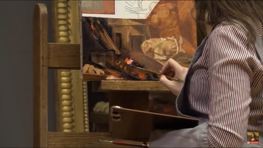 Capture d'écran vidéo musée du Louvre - Ségolène Girard, la peinture à l'huile au XVIIIème siècle