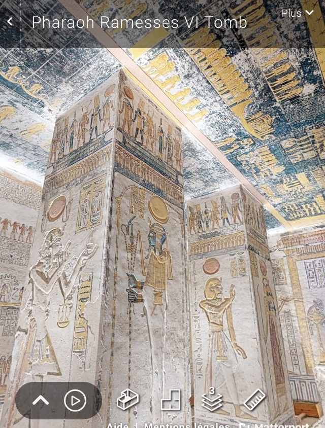 Capture d'écran visite virtuelle tombeau Ramsès VI