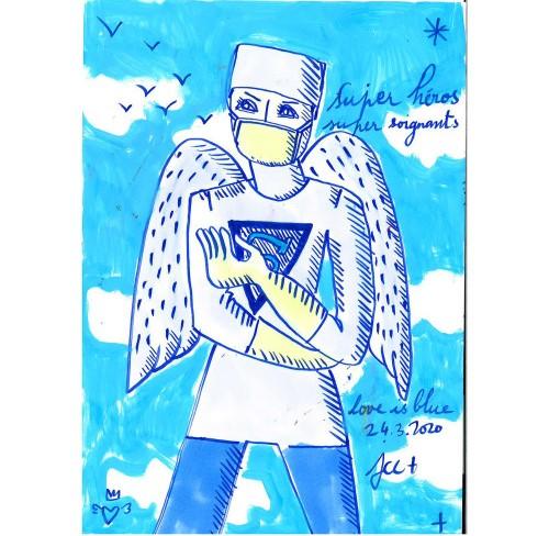 Jean-Charles de Castelbajac, Super héros, super soignants, 24.3.2020