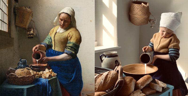La Laitière de Vermeer recréé pour le Getty Museum Challenge