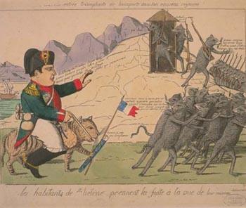Les habitants de Sainte-Hélène prennent la fuite à la vue de leur nouveau souverain, Entrée triomphante de Bonaparte dans son nouveau royaume