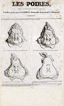 Les Poires, Honoré_Daumier_(1831) : métamorphose, en quatre images, du roi Louis-Philippe Ier en poire.