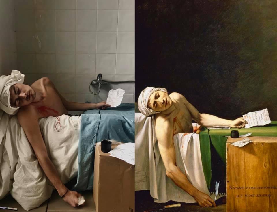 """""""La Mort de Marat"""" de Jacques-Louis David revisité"""