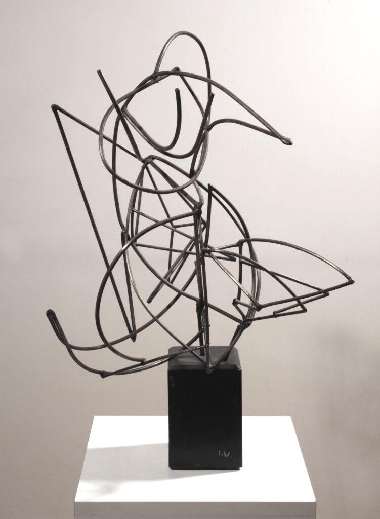Isabelle Waldberg, Construction, 1944-1948, sculpture en tiges de fer sur base rectangulaire de bois noirci, 54,4 x 34 x 37 cm