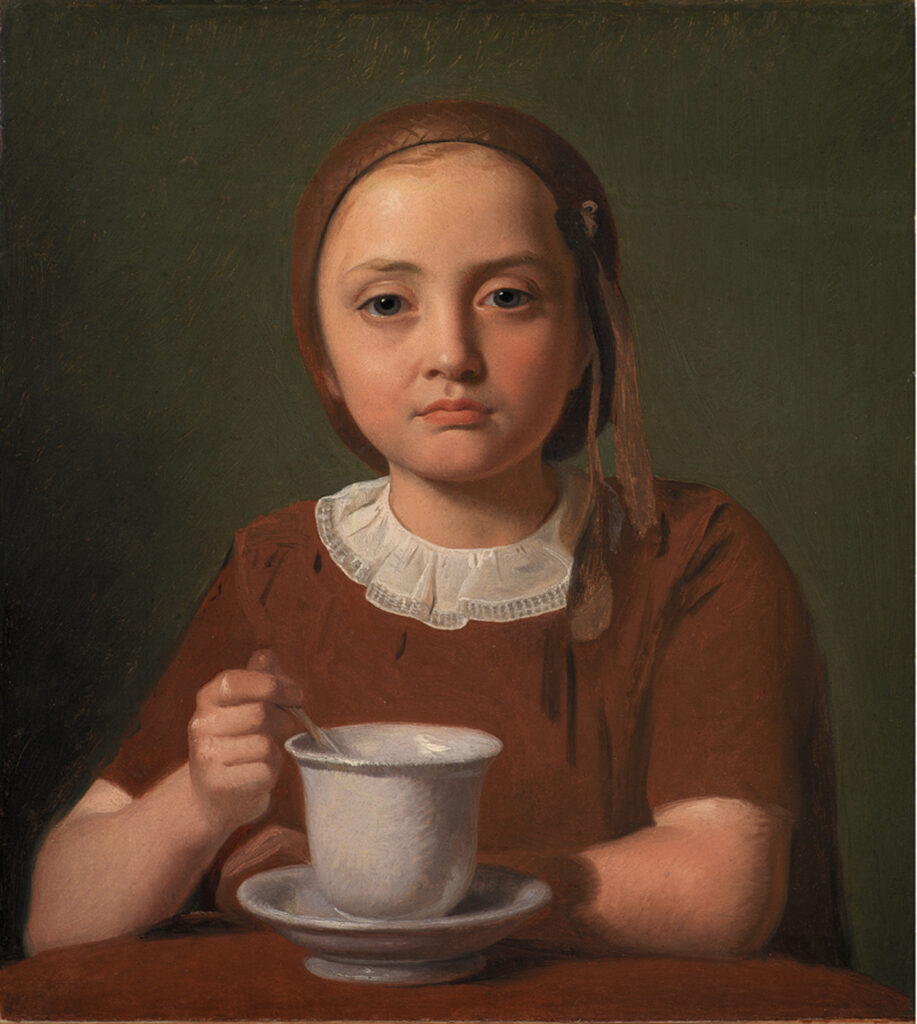 Constantin Hansen, Petite fille, Elise Købke, avec une tasse, 1850.