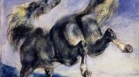 Eugène Delacroix Cheval ruant - La force du dessin Collection Prat Petit Palais