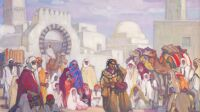 Exposition Jeanne Thil, Charmeur de serpents à Kairouan, vers 1924_Gouache sur papier, 50 x 70 cm_Collection privée