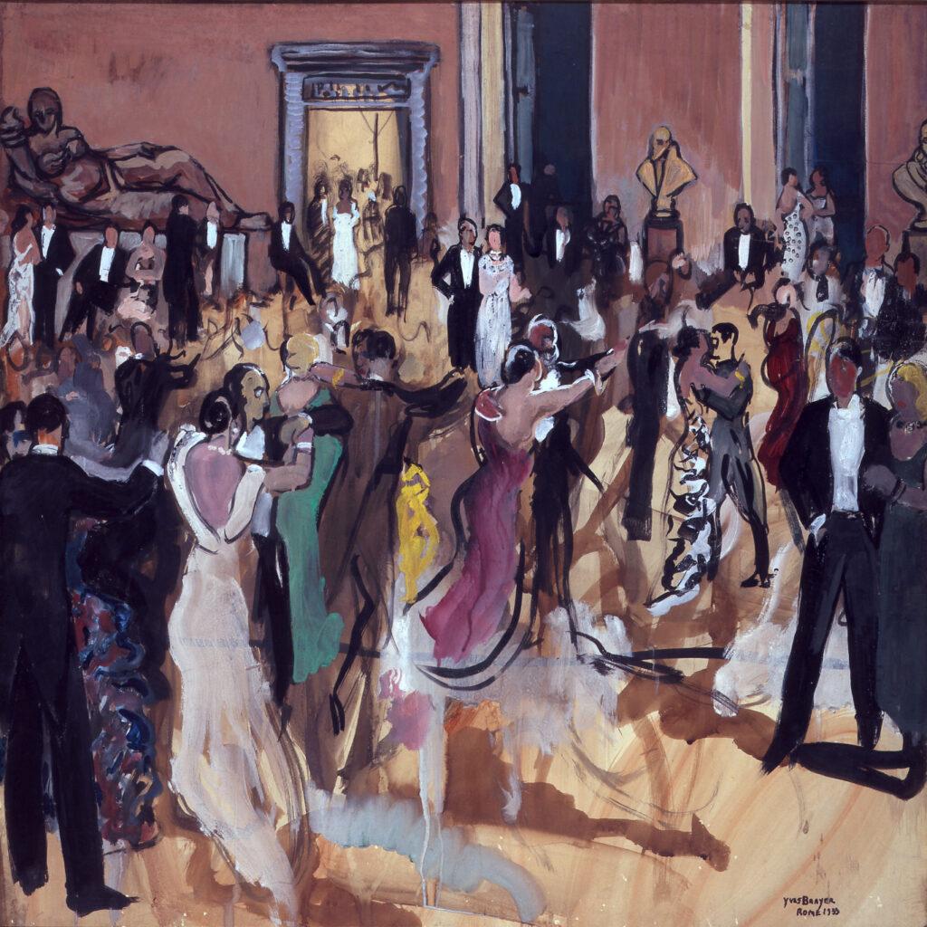 Bal au Palais Farnèse, Rome 1933, Gouache sur papier marouflé 83x83cm