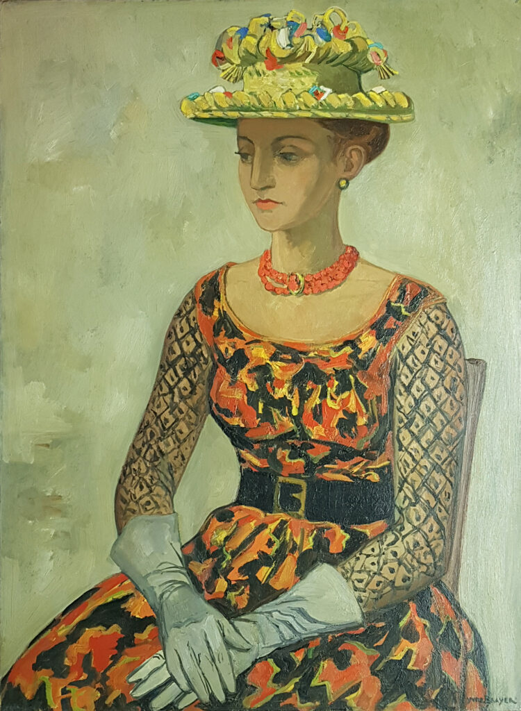 Hermione au chapeau de paille de Ségovie, 1963, Huile sur toile 100x73cm