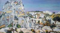 Exposition Yves Brayer - Le Val d'Enfer aux Baux, 1973, Huile sur toile 114x162cm, ©ADAGP, Paris, 2020