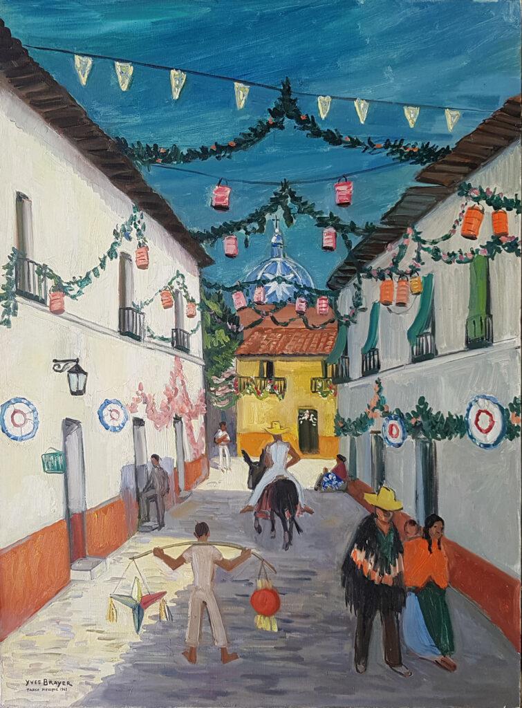 Taxco pavoisé à Noël, 1963, Huile sur toile 130x97cm