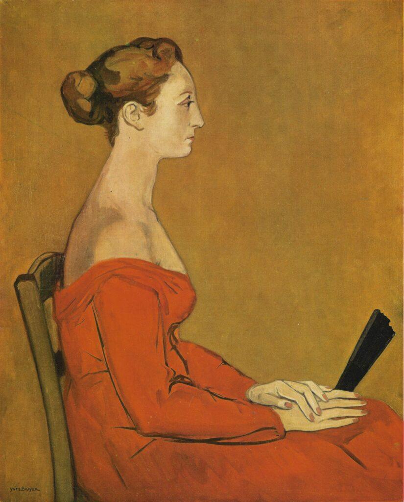 Exposition Yves Brayer un nouveau regard au musée Yves Brayer- Portrait d'Hermione à la robe rouge, 1955