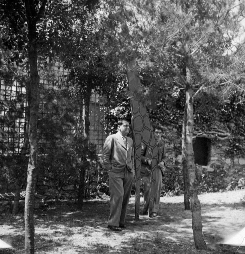 Luis Buñuel et Alberto Giacometti posant avec Girafe (1932)