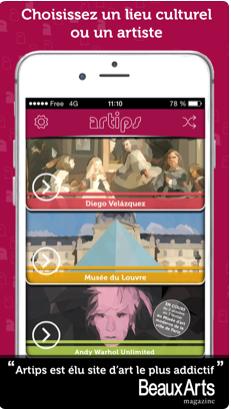 Capture d'écran application Artips