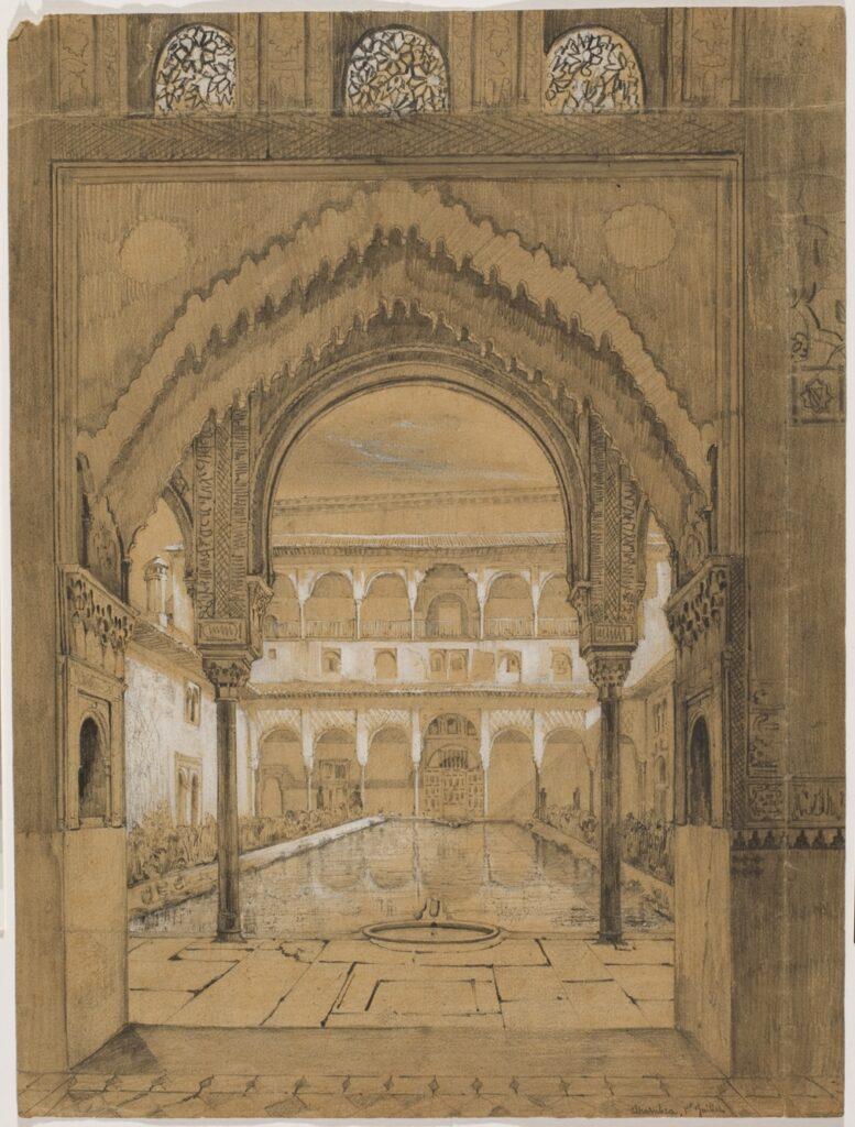 Joseph Philibert Girault de Prangey. Cour de l'Alberca. Alhambra. Vers 1832-1833. Crayon et gouache blanche sur papier. Paris