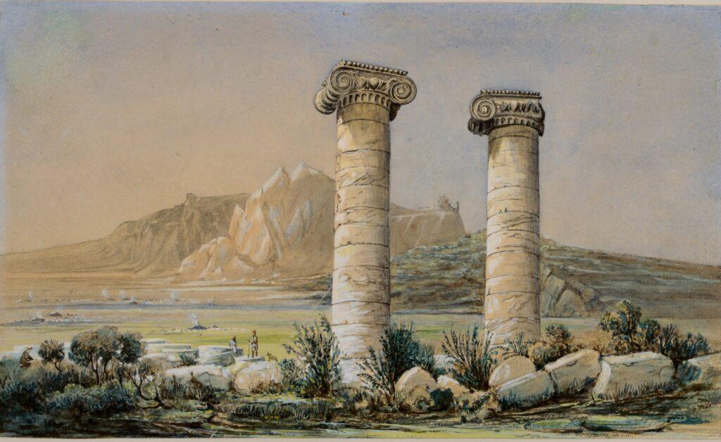Joseph Philibert Girault de Prangey. Temple de Cybèle, Sardes. S. d. (1843). Crayon et aquarelle sur papier. Langres