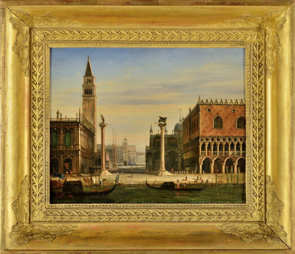 Joseph Philibert Girault de Prangey. Vue de la Place Saint‐Marc à Venise. Mars 1831. Huile sur toile. Langres