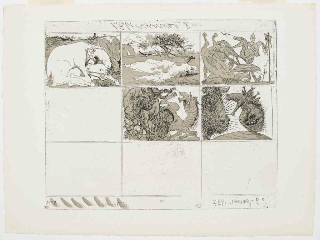 Pablo Picasso - Songes et mensonges de Franco (Planche II) - IIIème état,