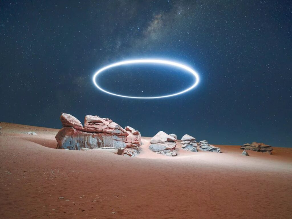 """Projet de série photographique """"Lux Noctis"""" pour Phase One. Paysage éclairé de nuit par un drone"""