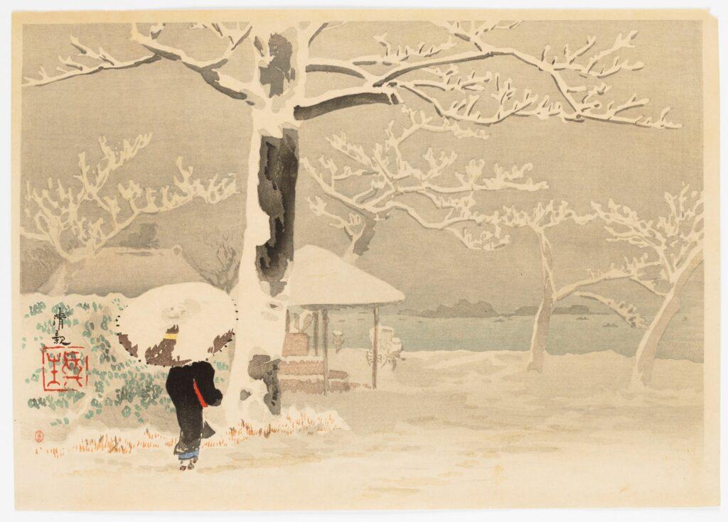 Exposition Fuji, pays de neige au musée Guimet-Femme de dos dans un paysage de neige, KIYOCHIKA Kobayashi (1847-1915)