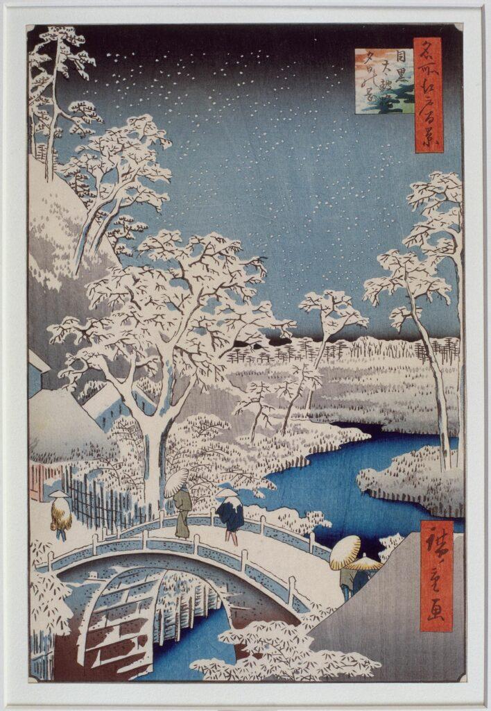 Exposition Fuji pays de neige au musée Guimet- Le pont Taiko et la colline Yuhi à Meguro Série des Cent vues célèbres d'Edo HIROSHIGE Utagawa (1797-1858)
