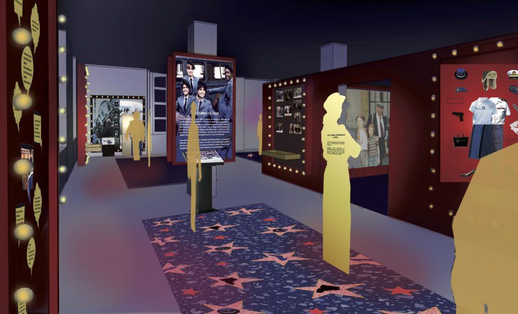 Visuel de la scénographie de l'exposition Les Gendarmes crèvent l'écran au Musée de la Gendarmerie Nationale