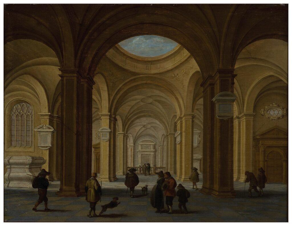 Exposition Sacrée Architecture ! La Passion d'un collectionneur - Jan van der Vucht, Intérieur d'une église imaginaire de style Renaissance avec une coupole ouverte
