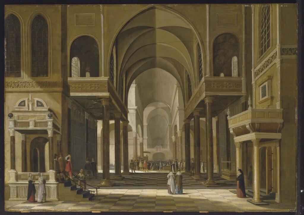 Exposition Sacrée Architecture ! La Passion d'un collectionneur - Gerard Houckgeest, Intérieur d'une église imaginaire avec un sermon à l'arrière-plan