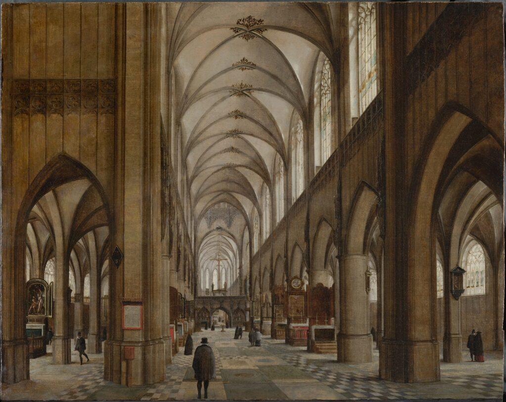 Exposition Sacrée Architecture ! La Passion d'un collectionneur - Hendrik van Steenwijck I, Intérieur d'une cathédrale gothique