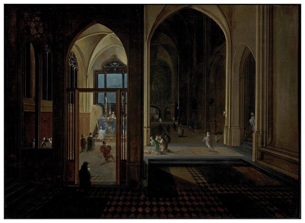 Exposition Sacrée Architecture ! La Passion d'un collectionneur - Pieter Neefs, Chapelle latérale dans une église gothique de nuit avec une messe