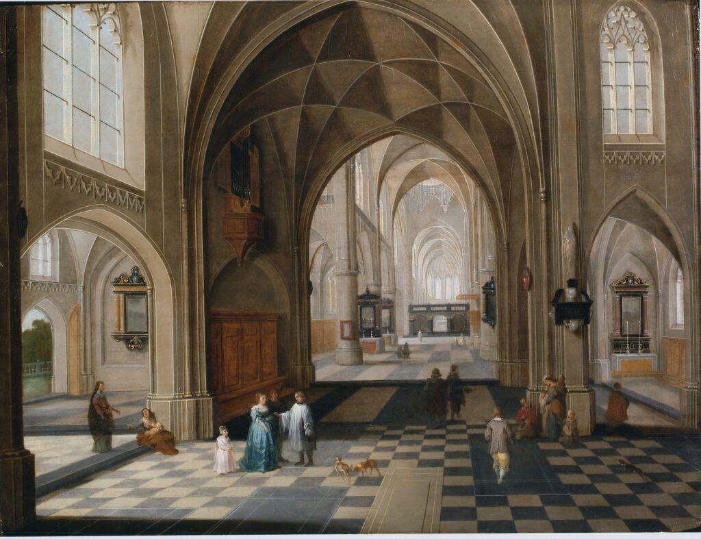 Exposition Sacrée Architecture ! La Passion d'un collectionneur - Pieter Neefs, Intérieur d'une église animée