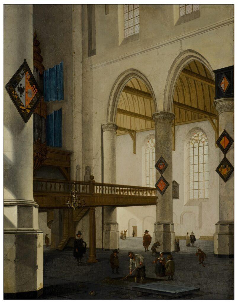 Exposition Sacrée Architecture ! La Passion d'un collectionneur - Cornelis de Man, Vue du balcon de l'orgue de la Vieille Église de Delft