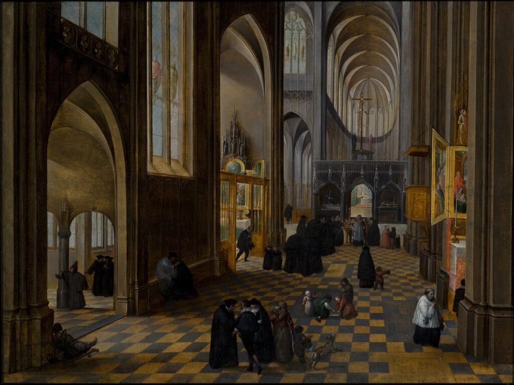 Exposition Sacrée Architecture ! La Passion d'un collectionneur - Abel Grimmer, Intérieur d'une église avec une scène de baptême à l'arrière-plan