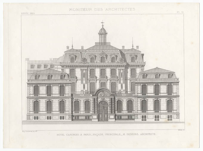 Gravure — «Hôtel Camondo à Paris- M. Destors architecte - Façade principale» Moniteur des architectes, année 1880, pl. 51
