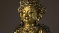 """""""Boddhisattva"""". Bronze doré. Dynastie des Ming, Yongle. Paris, musée Cernuschi."""