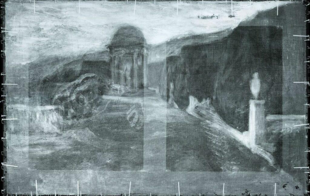 La Misereuse accroupie, rayons X