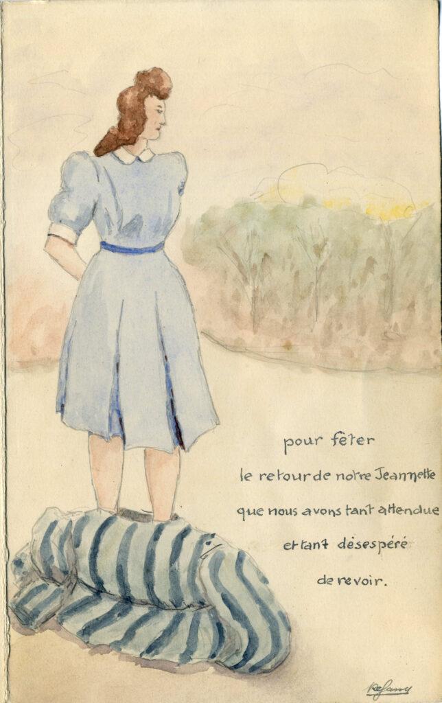 Menu pour le retour de déportation de Jeanne Garraud