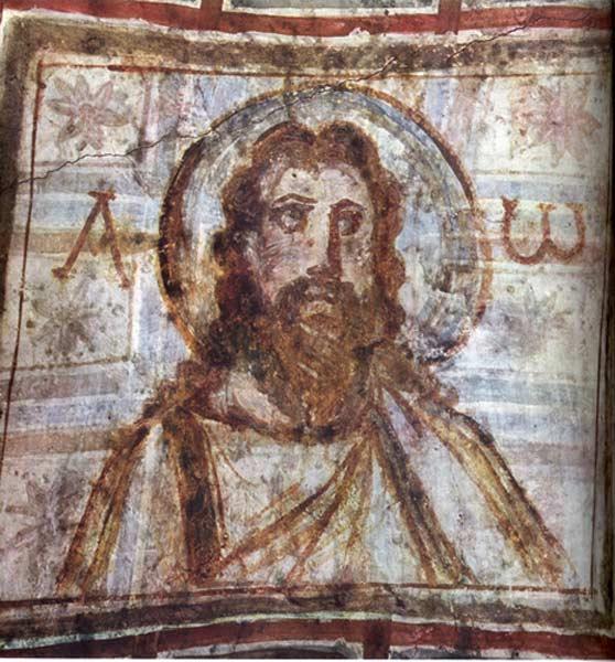 Portrait du Christ, peinture murale, Catacombes de Comodilla, IVe siècle