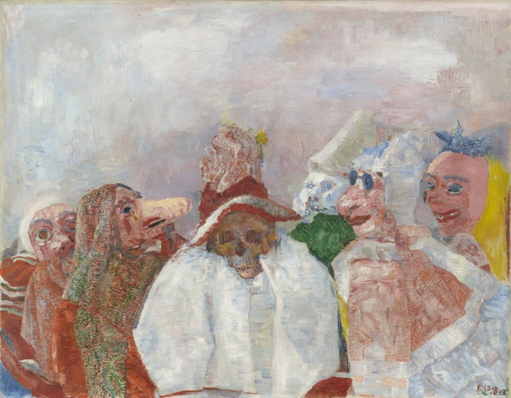 James Ensor, Masques raillant la mort, 1888