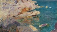 Rocks of Jávea and the white boat, 1905. Found in the Collection of Museo Carmen Thyssen, Málaga.