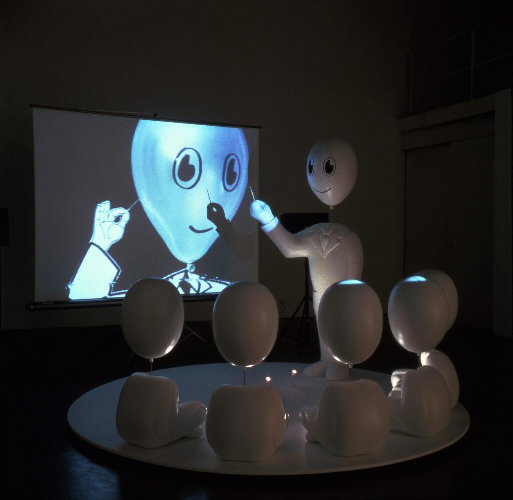 Exposition Le cabaret du néant au château de Rentilly-Alain Séchas Professeur Suicide, 1995